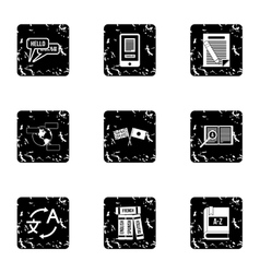 Translation of language icons set grunge style vector
