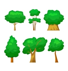 Trees set in cartoon style vector image vector image