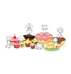 various cakes and scetches of kids vector image