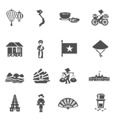 Vietnamese black white icons set vector