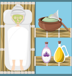 Woman in wood room with product in the face vector