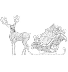 Reindeer with sledges of santa with christmas tree vector
