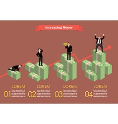 Increasing cash money with businessman in various vector image