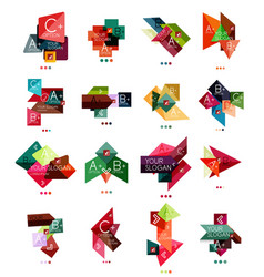 set of color paper style business infographic vector image
