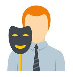 businessman holding fake mask smile icon isolated vector image