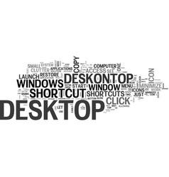 A desk on top text word cloud concept vector