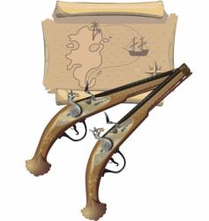 Two pirates pistols and map vector