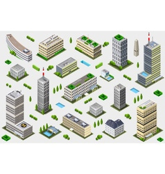 Isometric megalopolis building collection vector