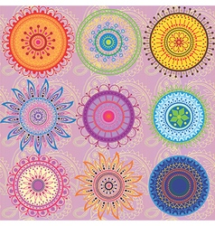 A set of 9 colored mandalas vector image