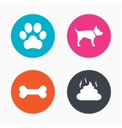 Pets icons dog paw and feces signs vector