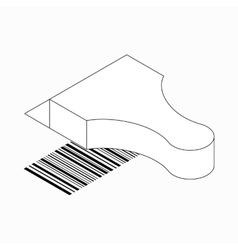 Barcode scanner icon isometric 3d style vector