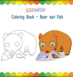 Bear eat fish coloring book educational game vector image vector image