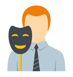 Businessman holding fake mask smile icon isolated vector