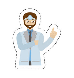 Cartoon beard doctor male professional work vector