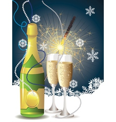 Champagne and sparkler vector