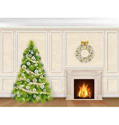 Christmas interior in classic style vector