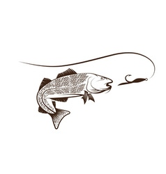 Cod fish and lure vector