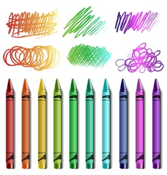 Crayon set with sketches vector image