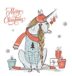 Cute christmas unicorn vector