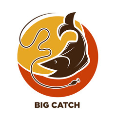 fishing icon of fish catch on hook template vector image vector image
