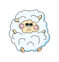 Fun sheep on white background vector image vector image