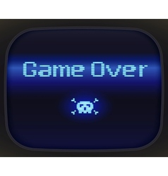Game over tv game skull and crossbones vector