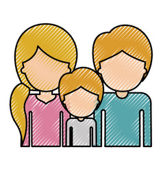 Half body faceless people with woman with pigtail vector