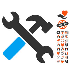 hammer and wrench icon with lovely bonus vector image