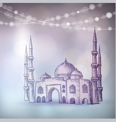 Hand drawn sketch of the mosque with string of vector