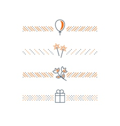 Holiday decoration elements gift flowers icons vector