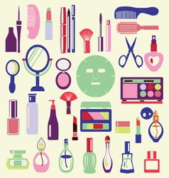 Icon Set ofCosmetics Make Up and Beauty objects vector image vector image