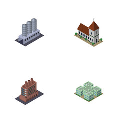 Isometric architecture set of clinic water vector