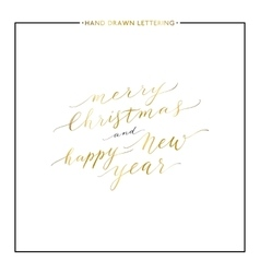 Merry Christmas and Happy New Year gold text vector image vector image
