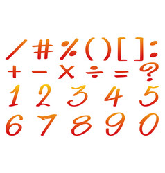 numbers and math signs in red color vector image vector image