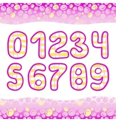 Pink hand drawn numbers 1234567890 in vector