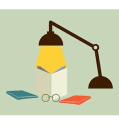 Reading with a lamp vector image vector image