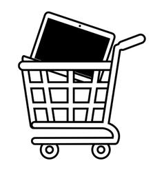 Shopping cart online laptop technology black vector