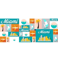 travel and tourism icons Miami vector image