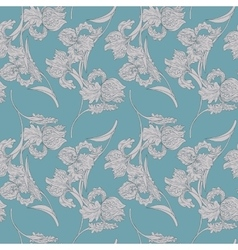 vintage seamless pattern with iris flowers vector image