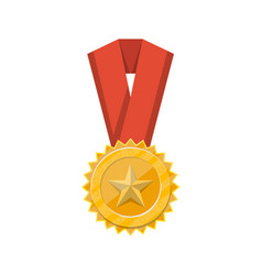winner golden medal with red ribbon icon vector image vector image