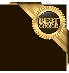 Best choice golden label with ribbons vector