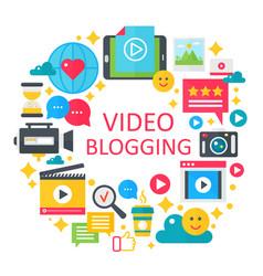 Video blogging flat concept vector