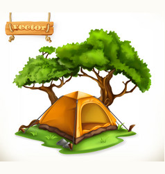 Hiking dome tent camping 3d icon vector