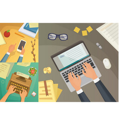 Flat design top view on desk concept design vector