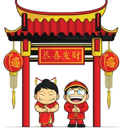 Cartoon of boy girl greeting chinese new year vector