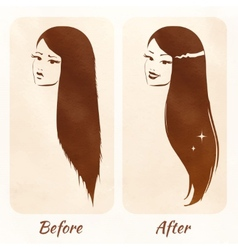 Hair before and after vector