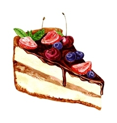 Watercolor piece of chocolate cake vector