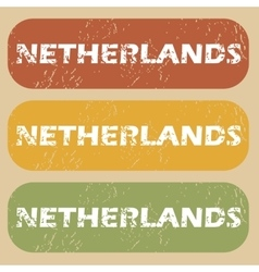 Vintage netherlands stamp set vector