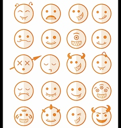 20 smiles vampires icons set color half vector