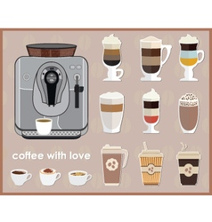 Coffee machine and equipment vector